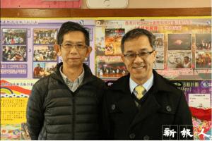 佛教慧因法師紀念中學朱劍虹副校長(左)指現今政府於「非遺」上缺乏領導。右為鍾全明校長。(鍾卓瑜攝)